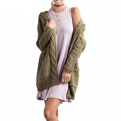 Women Knitted Cardigan Sweater With Pockets Army Green / XXXL - Women Sweaters | MegaMallExpress.com