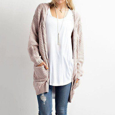 Women Knitted Cardigan Sweater With Pockets Pink / XXXL - Women Sweaters | MegaMallExpress.com