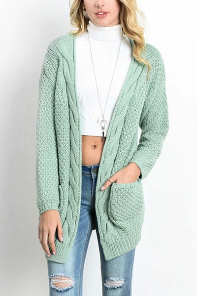 Women Knitted Cardigan Sweater With Pockets  - Women Sweaters | MegaMallExpress.com
