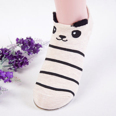 Women Animal Print Cotton Socks Cream-A / One Size - Women Socks & More | MegaMallExpress.com