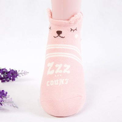 Women Animal Print Cotton Socks Pink-D / One Size - Women Socks & More | MegaMallExpress.com