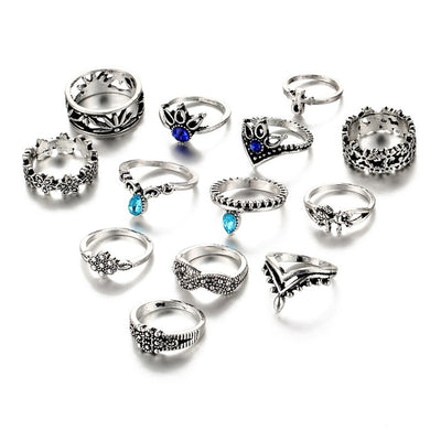 Retro Flower Knuckle Rings Silver RJCS485 - Casual Rings | MegaMallExpress.com