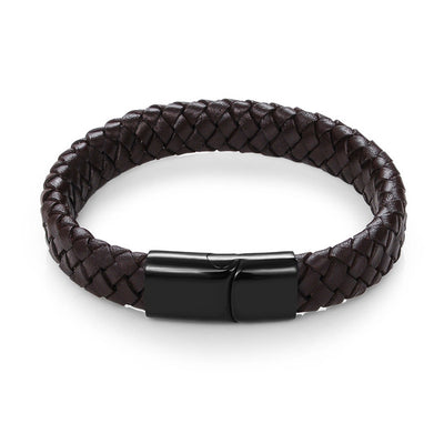 Braided Leather Bracelet Brown C3 / 22 cm - Bracelets & Bangles | MegaMallExpress.com