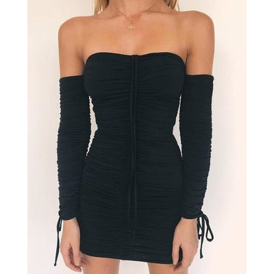 Women Off The Shoulder Bandage Dress With Sleeves Black / S - Women Dresses | MegaMallExpress.com
