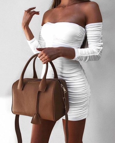 Women Off The Shoulder Bandage Dress With Sleeves White / S - Women Dresses | MegaMallExpress.com