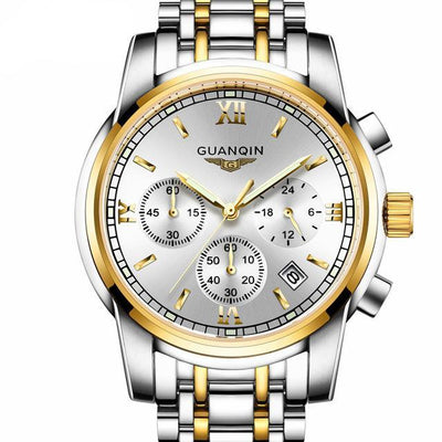 Luxury Business Wrist Watch gold white B - Men Watches | MegaMallExpress.com