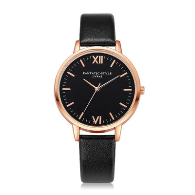 Women Gold Color Large Face Watch Black Rose Gold - Women Watches | MegaMallExpress.com