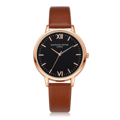 Women Gold Color Large Face Watch Brown Rose Gold - Women Watches | MegaMallExpress.com