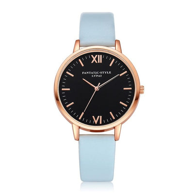 Women Gold Color Large Face Watch Sky Blue Rose Gold - Women Watches | MegaMallExpress.com