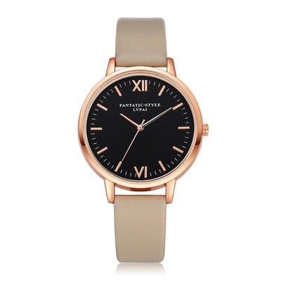Women Gold Color Large Face Watch Beige Rose Gold - Women Watches | MegaMallExpress.com