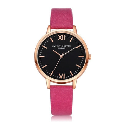 Women Gold Color Large Face Watch Rose Red Rose Gold - Women Watches | MegaMallExpress.com