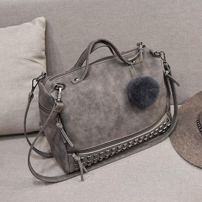 Best Nubuck Leather Top-Handle Shoulder Bags For Women Gray / 32 x 14 x 23 cm - Women Handbags & Purses | MegaMallExpress.com