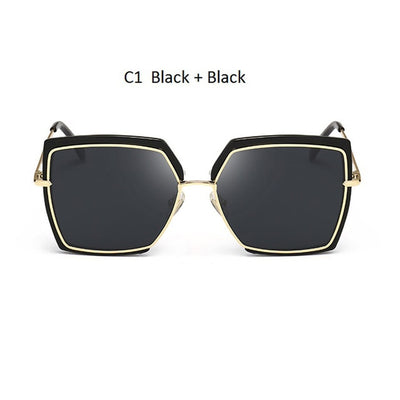 Women Oversized Cat Eye Shades Black/Black - Women Sunglasses | MegaMallExpress.com