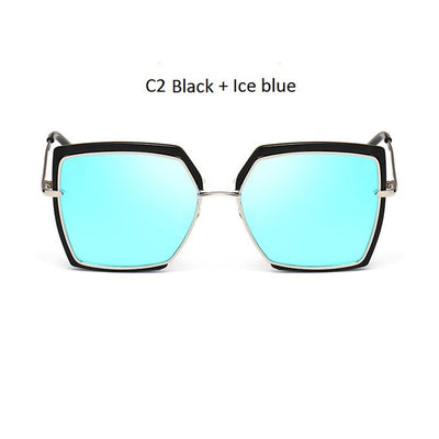 Women Oversized Cat Eye Shades Black/Blue - Women Sunglasses | MegaMallExpress.com