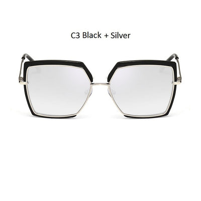 Women Oversized Cat Eye Shades Black/Silver - Women Sunglasses | MegaMallExpress.com