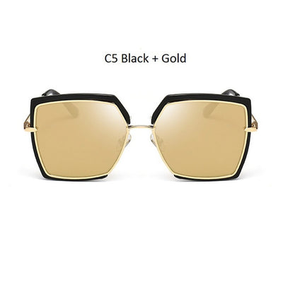 Women Oversized Cat Eye Shades Black/Gold - Women Sunglasses | MegaMallExpress.com