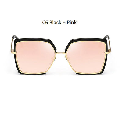 Women Oversized Cat Eye Shades Black/Pink - Women Sunglasses | MegaMallExpress.com