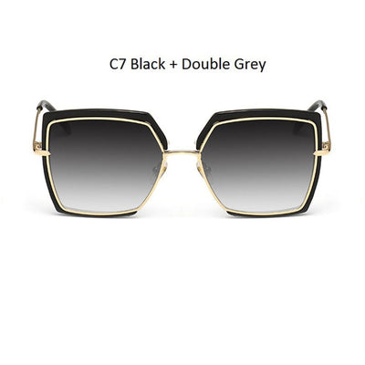 Women Oversized Cat Eye Shades Black/Gray - Women Sunglasses | MegaMallExpress.com