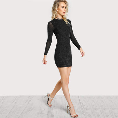 High Neck Form Fitting Black Dress  - Women Dresses | MegaMallExpress.com
