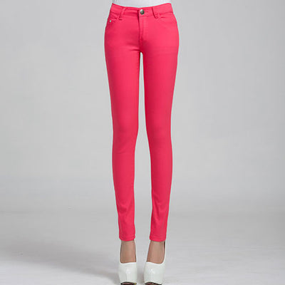 Women Candy Color Jeans Peach red / 31 - Women Bottoms | MegaMallExpress.com