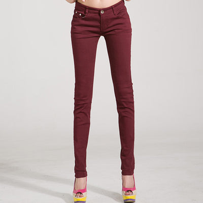 Women Candy Color Jeans Wine red / 31 - Women Bottoms | MegaMallExpress.com