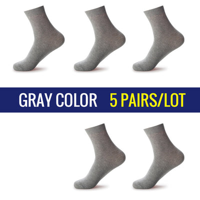 5 Pairs/Lot Men Dress Socks Gray / 39-45 - Men Socks | MegaMallExpress.com