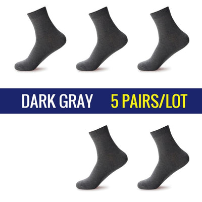 5 Pairs/Lot Men Dress Socks Dark Gray / 39-45 - Men Socks | MegaMallExpress.com
