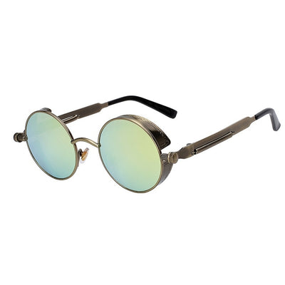 Women Retro Round Sunglasses Brass Gold Mirror - Women Sunglasses | MegaMallExpress.com