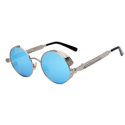 Women Retro Round Sunglasses Silver Blue Mirror - Women Sunglasses | MegaMallExpress.com