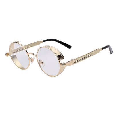 Women Retro Round Sunglasses Gold clear lens - Women Sunglasses | MegaMallExpress.com
