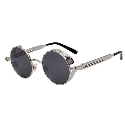 Women Retro Round Sunglasses Silver Black - Women Sunglasses | MegaMallExpress.com