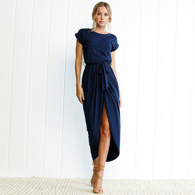 Women Slit Maxi Dress Dark Blue / XXL - Women Dresses | MegaMallExpress.com