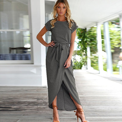 Women Slit Maxi Dress Dark Gray / XXL - Women Dresses | MegaMallExpress.com