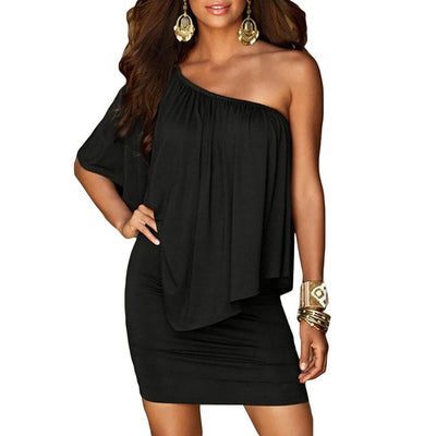 Women Off The Shoulder Mini Dress With Sleeves Black / M - Women Dresses | MegaMallExpress.com