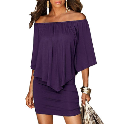 Women Off The Shoulder Mini Dress With Sleeves Purple / M - Women Dresses | MegaMallExpress.com