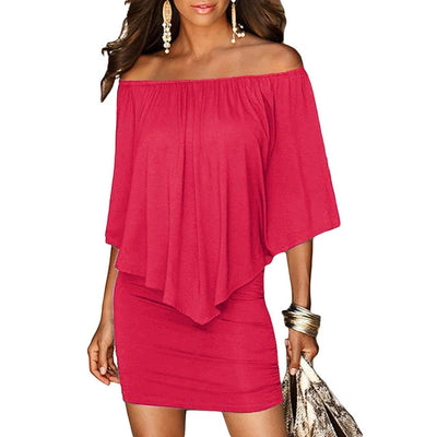 Women Off The Shoulder Mini Dress With Sleeves Rose Red / M - Women Dresses | MegaMallExpress.com