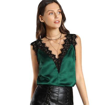 Women V Neck Satin Tank Top With Lace Trim Green / L - Women Tops & Tees | MegaMallExpress.com