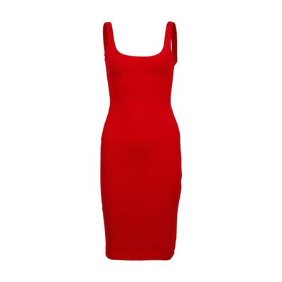 Women Slim Bodycon Party Dress Sleeveless Red / S - Women Dresses | MegaMallExpress.com