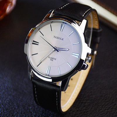 Men's Blue Glass Watch Black white - Men Watches | MegaMallExpress.com