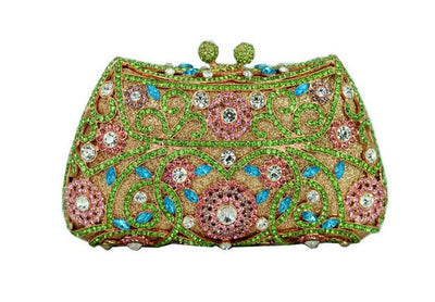 Women's Sparkling Silver Crystal Clutches Green 5 / 18 x 5 x 10 cm - Women Handbags & Purses | MegaMallExpress.com