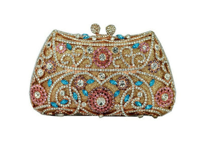 Women's Sparkling Silver Crystal Clutches Red 9 / 18 x 5 x 10 cm - Women Handbags & Purses | MegaMallExpress.com