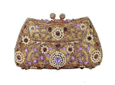 Women's Sparkling Silver Crystal Clutches Brown 10 / 18 x 5 x 10 cm - Women Handbags & Purses | MegaMallExpress.com