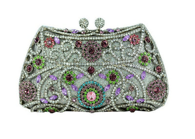 Women's Sparkling Silver Crystal Clutches Gray 12 / 18 x 5 x 10 cm - Women Handbags & Purses | MegaMallExpress.com