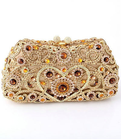 Women's Sparkling Silver Crystal Clutches Gold 13 / 18 x 5 x 10 cm - Women Handbags & Purses | MegaMallExpress.com