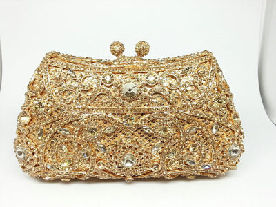 Women's Sparkling Silver Crystal Clutches Gold 15 / 18 x 5 x 10 cm - Women Handbags & Purses | MegaMallExpress.com