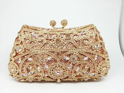 Women's Sparkling Silver Crystal Clutches Gold 16 / 18 x 5 x 10 cm - Women Handbags & Purses | MegaMallExpress.com