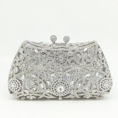 Women's Sparkling Silver Crystal Clutches White 21 / 18 x 5 x 10 cm - Women Handbags & Purses | MegaMallExpress.com