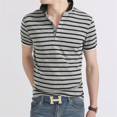 Short Sleeve Polo T-Shirt Grey Striped / XXXL - Men Tops & Tees | MegaMallExpress.com