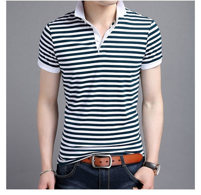Short Sleeve Polo T-Shirt Blue Striped / XXXL - Men Tops & Tees | MegaMallExpress.com