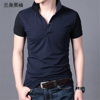 Short Sleeve Polo T-Shirt Navy Black / XXXL - Men Tops & Tees | MegaMallExpress.com
